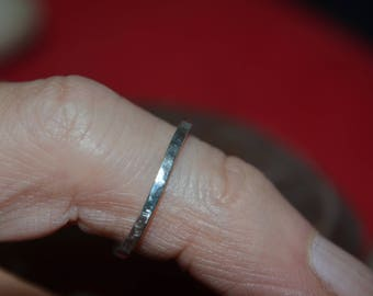 Small hammered solid silver ring