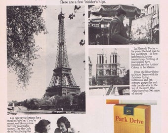 1976 Park Drive Cigarettes Advert Guide to Paris Retro Advertising 1970s Parisian