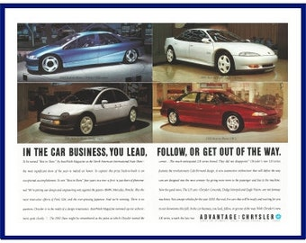 """CHRYSLER AUTOMOBILE Original 1992 Vintage Color Print Ad - """"In The Car Business, You Lead, Follow, Or Get Out Of The Way."""""""