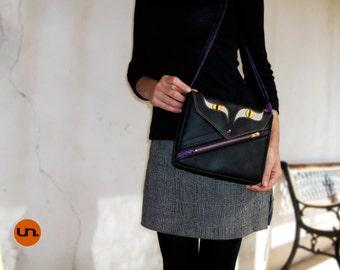 Hollow Cat, Handmade Personalized Shoulder Bag, Black Cat, Vegan Bag, Leather Handbag Leather Shoulder Bag, Leather Messenger Bag, UNUSUAL