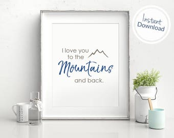 Mountain Couple Print, Mountain Inspiration Art Print, Mountain Quote Printable, Mountain Adventure Art, Printable Mountain Wall Art
