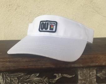 OUT is in USA Visor, sports visor, white golf visor, lesbian visor, tennis visor, pridewear, pride visor