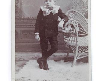 Antique Cabinet Photo Young Boy Vintage Photography Boys Fashion Victorian Photograph CC#10014