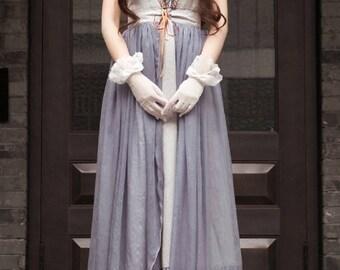 Vintage Retro Summer Maxi Dress Empire Waist Regency Jacquard Dress Set