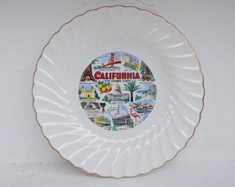 Vintage Colorful California Souvenir Plate - Souvenir