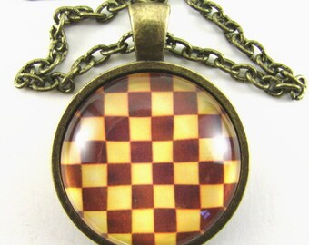 CHESS BOARD Necklace --  Let the Game begin, Classic wooden game board, Chess art necklace, Pop art pendant, Gift for him or her
