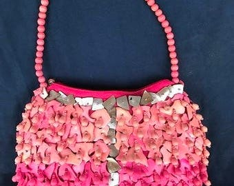 Mido Collection Hot Pink-Beaded Seashell Purse