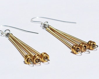 Guitar String Jewelry- Upcycled Brass Ball End Drop Guitar String Earrings, Music Jewelry, Guitar Player Gift, Guitar Jewelry by Tanith Rohe