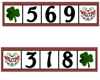 Welcome with Shamrock with 3 Number Tiles and Frame - Ceramic House Numbers