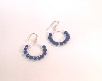 Sterling Silver Faceted Blue Agate Wire Wrapped Hoop Earrings