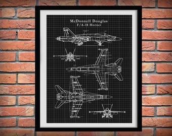 F-18 Hornet Patent Drawing Print Bomber Plane McDonnell Douglas - Boeing F-18 - Art Print - Poster - Military Fighter Plane - Blue Angels