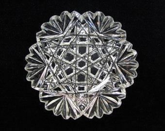 Antique cut glass nappy, American brilliant cut glass small dish