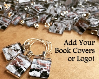 Logo or Photo Party Favor Charms l Scrabble Size Custom Glass Author Charms l Book Promotion Swag or Book Signing Gift