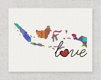 Indonesia Love - Colorful Watercolor Style Wall Art Print & Home Country Map Artwork - Housewarming, Moving, Engagement, Travel Gift
