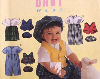 BABY CLOTHES Sewing Pattern ~ Romper Jumpsuit Vest & Hat 4 Sizes 9166 OOP