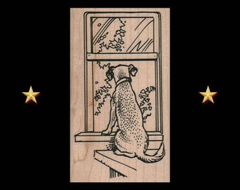 DOG Rubber Stamp, Dog At Window Stamp, Window Rubber Stamp, Animal Rubber Stamp, Dog Gifts, Dog Party Favors, Dog Stuff, Pet Rubber Stamp