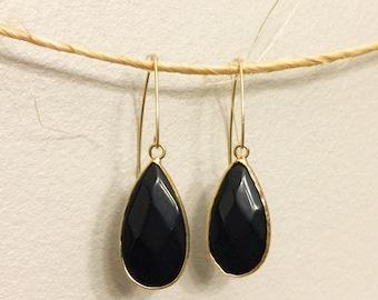 Black Onyx Gemstone and Gold Earrings
