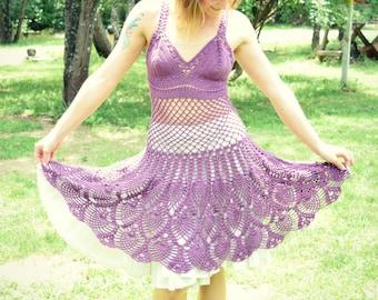 Crochet Lace Dress / Size Small / Cute Festival Dress / Handmade Cotton Blend Halter Top Mesh Dress with A-Line Knee Length Skirt