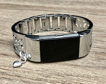 Silver Color Band for Fitbit Charge 2 Fitness Tracker Silver Heart Pendant Adjustable Fitbit Charge 2 Jewelry Bracelet Mothers Day Gift Idea