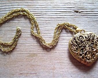 Victorian Heart Locket, Heart Perfume Pendant, Large Vintage Heart Locket, Ornate Filigree Heart Pendant Necklace, Gold Heart Locket