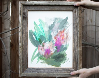 SUGARBUSH - Original art, Protea inspired abstract painting, reclaimed wood frame