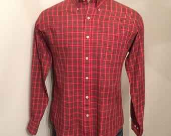 Vintage MENS 1970s Sears long sleeve red plaid shirt, size L