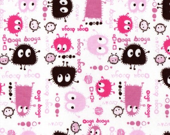 PINK n BROWN Ooga Booga, Cotton Interlock Knit Fabric, FQ