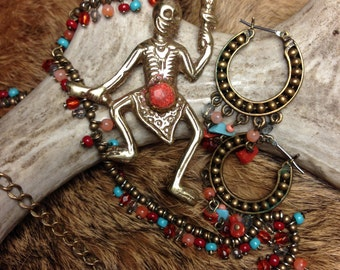 Tibetan Dance of the Dead Skeleton Necklace and Earring set