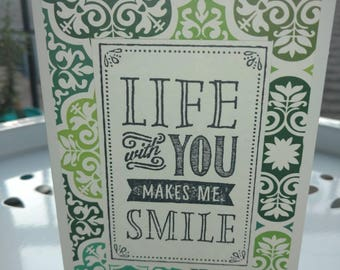 You Make Me Smile Green Notecards. Green Pattern. Life Smiles. Stamped Sayings. Dimensional Stationary. Set of 10. White Stationary