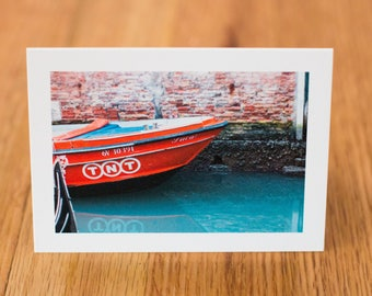 Boat in Venice, Travel Photo Card with envelope, Blank Inside