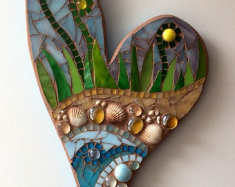 Mosaic beach heart made with stained glass, shells