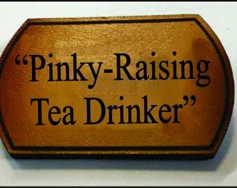 Steampunk leather pin (Tea Drinker)