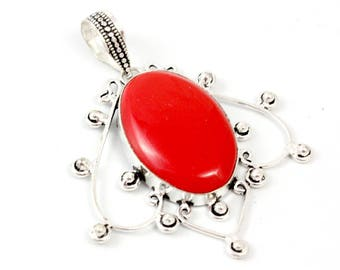 trendy red couple gemstone item lucky natural silver pendant romantic pisces necklace coral women