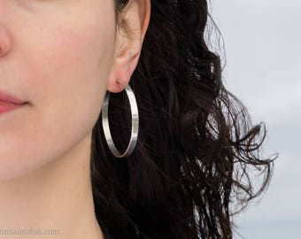 Sterling Silver Hoops, Wide Wavy Texture, 50mm.