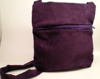 Cross Body Bag in Purple Suede with Front Zipper
