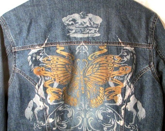 Jean Jacket Squeeze Jeans Vintage Clothing Glitter Butterfly and Unicorns
