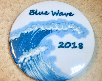 Blue Wave Democratic pin-back button