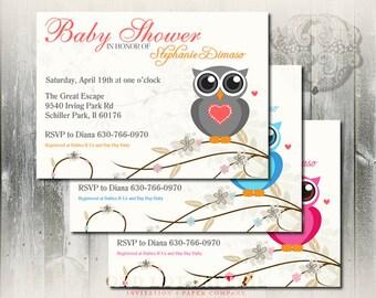 Owl Baby Shower Invitation, Digital printable Baby shower invite gender neutral, Owl Invitation, DIY Invitation, Baby Boy or Girl invite