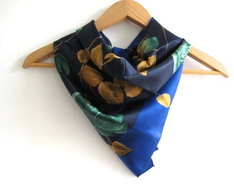 Vintage Scarf Amazing Green Roses Gold Leaves Bold Design Green Gold Vintage Scarf