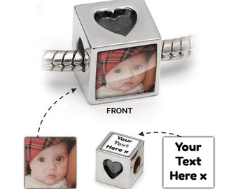 Heart Charm | Picture Bead in 925 Silver | Love Hearts Message | Pandora Bracelet Compatible - Gift Jewellery Wedding