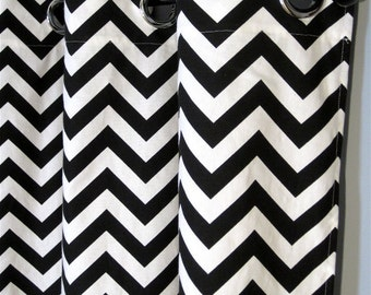 """96"""" Black and White Zig Zag Curtains with Grommets - Two Chevron Curtain Panels - 50""""x96"""" - FREE SHIPPING"""