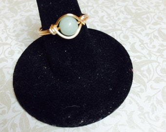 Mint green aventurine wire wrapped ring