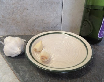garlic plate, grater plate, White & Green plate, made in Montana, pottery grater, chocolate grater, hard cheese grater, plate