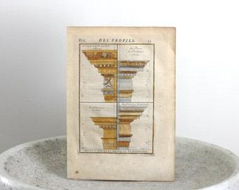 1742 Antique Column Copper Engraving Charles Augustin d'Aviler 8 x 11 inches