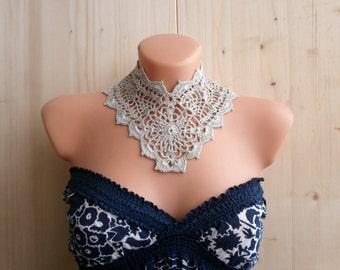 Fait à la main amovible argent gris Floral Robe col collier de bijoux de crochet dentelle Peter Pan victorienne col accessoires de mode de l'été