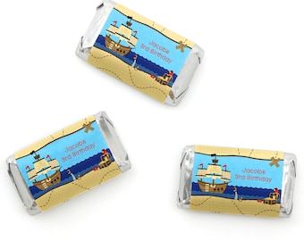 Ahoy Mates! - Pirate Mini Candy Bar Wrappers - Personalized Baby Shower & Birthday Party Hershey® Miniature Candy Bar Sticker Labels - 20 Ct