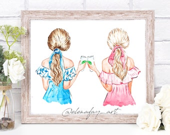 Coffee Besties, Best Friends Illustration, Coffee Buddies Illustration, Best Friend Gift, Gift for BFF