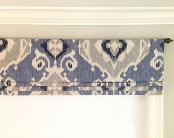 Faux (fake) Flat Roman Shade Valance.  Magnolia Home Fashions Delhi Yacht.  Shades of blue, grey, and beige. Other colors available.