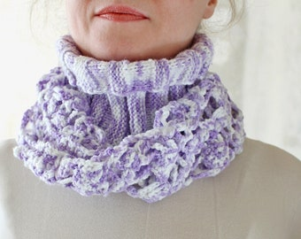Trend color lavender scarf Crochet scarf cowl Crochet scarf Knit scarf Snood Crochet cowl Women scarf Gift for teen girl Gift for daughter
