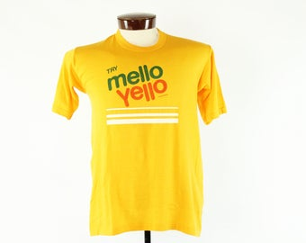 70s Mello Yello T-Shirt Screen Tee Gold Yellow Knit Shirt Short Sleeves Vintage 1970s Large L Hipster Advertising